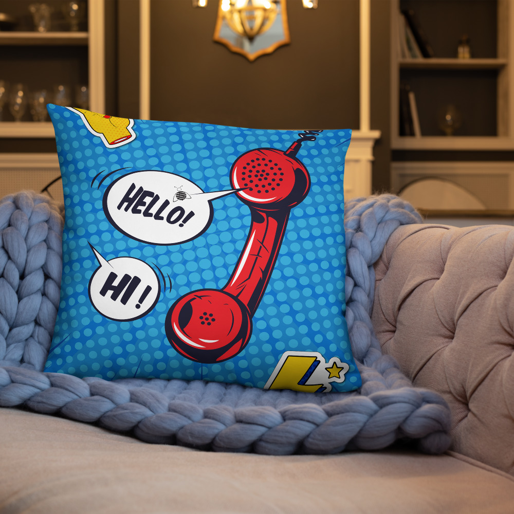 """Couch pillow """"Pop art phone"""" top quality"""
