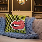 Couch pillow Pop art lips colorful design