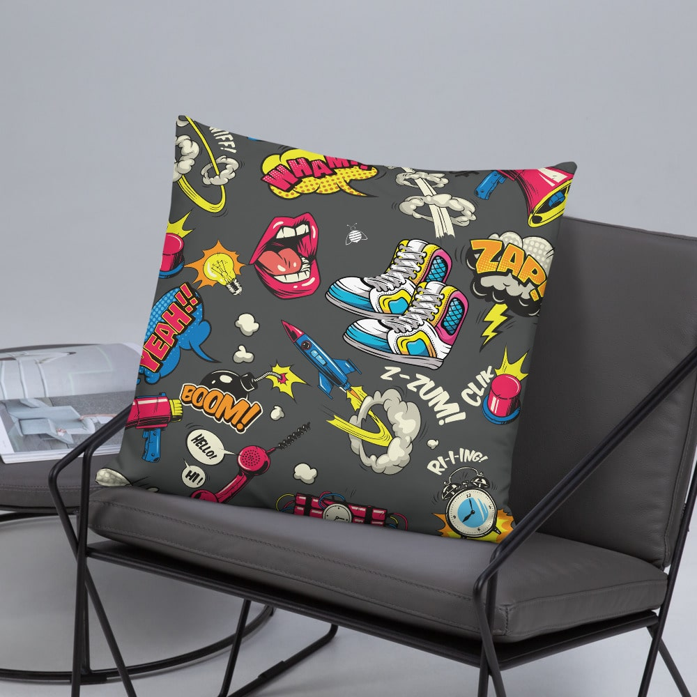 """Couch pillow """"stickers"""" colorful design"""