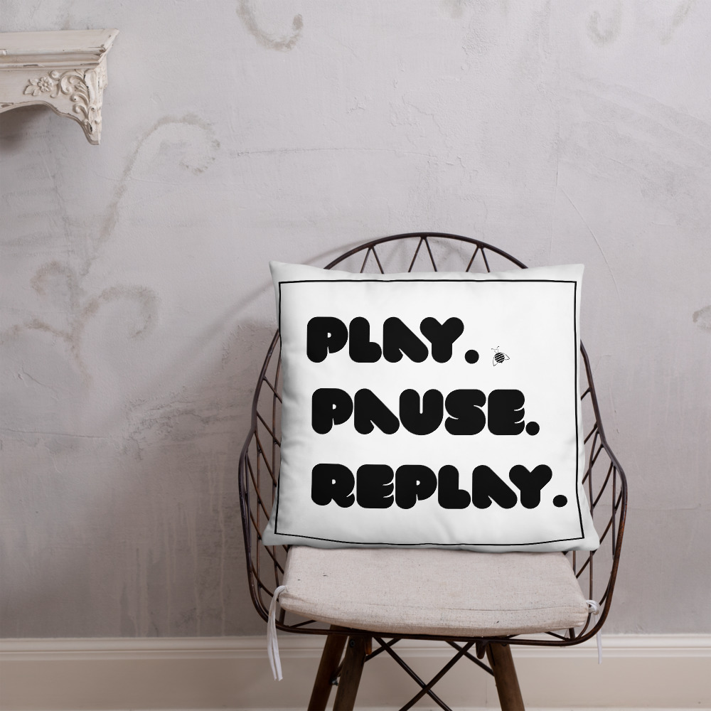 """Couch pillow """"play"""" """"pause"""" """"replay"""""""