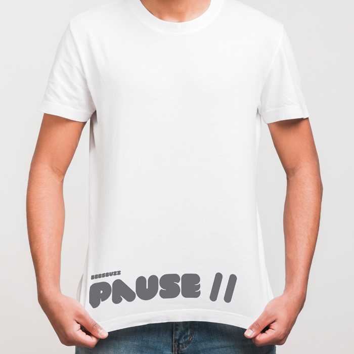 Top guality pause T-shirt with fabric effect