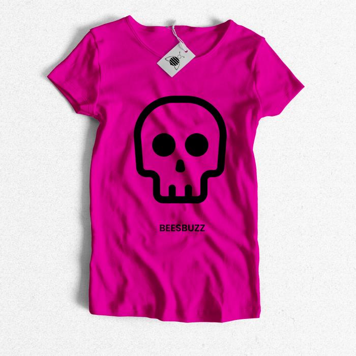 bC skull T shirt fuchsia